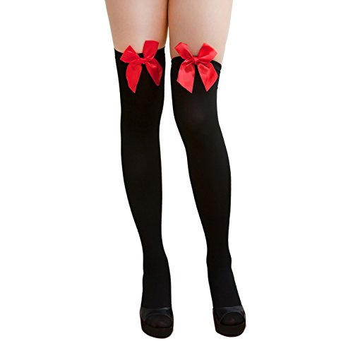 Oblique Unique® Sexy Strumpfhose -halterlos- Overknee Strümpfe - Party Kostüm Fasching Karneval (Overknee Schleife schwarz/rot) -
