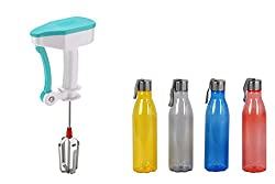 Sarangware Power Free Hand Blender For Egg & Cream Beater,Milkshake Lassi Maker With ABS Plastic Steel Cap Water Bottle 1100Ml, Set Of - 4(Multi Color)