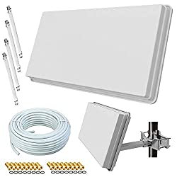 netshop 25 Selfsat H30D4+ Flachantenne Quad + 50m Kabel + Fensterhalterung + Fensterdurchführung + F-Stecker (Sat Anlage für 4 Teilnehmer)
