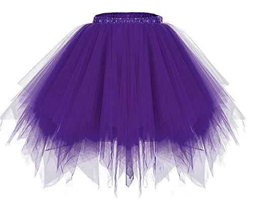 bridesmay Tutu Damenrock Tüllrock 50er Kurz Ballet Tanzkleid Unterkleid Cosplay Crinoline Petticoat für Rockabilly Kleid Purple S