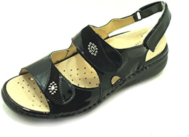GRÜNLAND Sandalo in CAMOSCIO - E Vernice LABA SE0366 - CAMOSCIO Nero bbd7c0 d64c7423e98