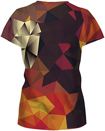 TDOLAH Damen T-Shirt 3D Print Shirt Tee Paar Kostüm Fasching Weltraum Thema Wolf Löwe Katze Tierdruck Dreieck