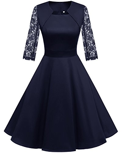 Homrain Damen 50er Vintage Retro Kleid Party Langarm Rockabilly Cocktail Abendkleider Navy-1 XS