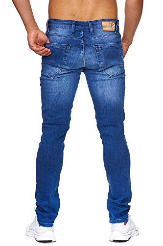 TAZZIO Slim Fit Herren Destroyed Look Stretch Jeans Hose Denim J-1003 Blau
