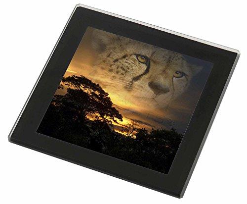 Cheetah -Uhr Glasuntersetzer mit schwarzem Rand Weihnachtsgeschenk Cheetah Uhr