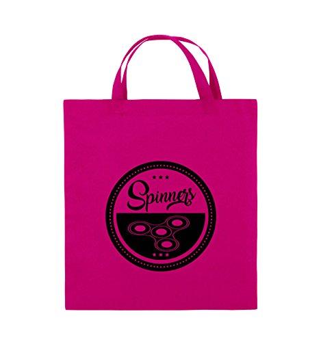 Comedy Bags - Spinners - MOTIV KREIS - Jutebeutel - kurze Henkel - 38x42cm - Farbe: Schwarz / Silber Pink / Schwarz