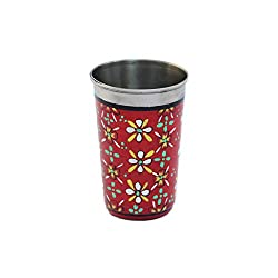 eCraftIndia Handpainted Decorative Steel Glass - 105 Red Color