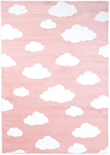 Carpeto Rugs Teppich Kinderzimmer Wolke Muster Jugendizmmer Rosa 200 x 290 cm XL