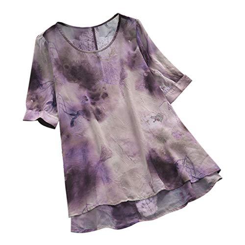 Yvelands Damen Bluse Vintage Print Plus Size O-Ausschnitt Kurzarm Loose Top T-Shirt(Lila,M)