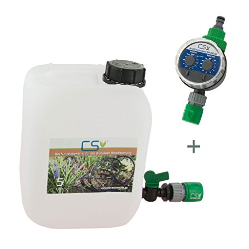 CS Wasser-Vorratsbehälter 5 l mit Absperrhahn und GL Schnellschlauchstück und Bewässerungscomputer für die drucklose Bewässerung