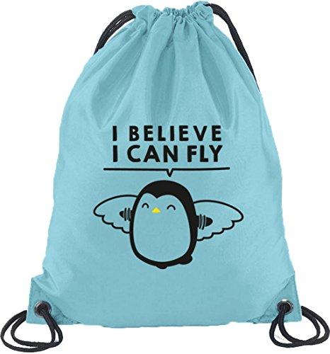 Lustiger Turnbeutel Rucksack Sport Beutel I Believe I Can Fly Hellblau