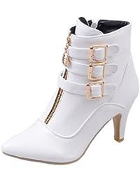 Easemax Damen Schick Spitze Zehe Cross Schnürung Ankle Boots Mit Stilettos Rot 42 EU EKs477i