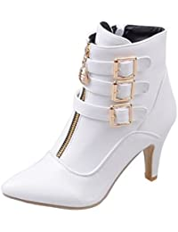Easemax Damen Schick Spitze Zehe Cross Schnürung Ankle Boots Mit Stilettos Rot 42 EU