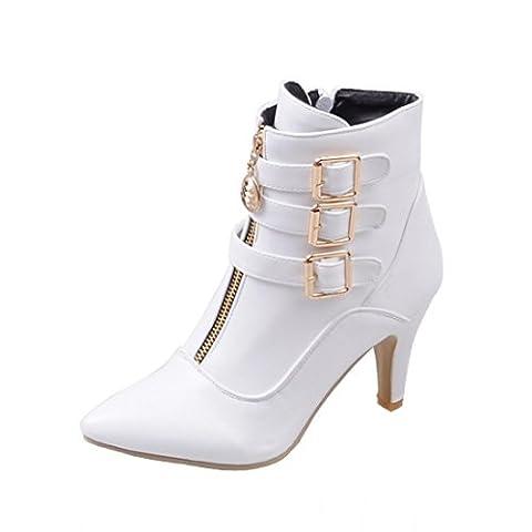 UH Femmes Chaussures Bottes avec Boucles Motard à Cheville Bout Pointu Petite Talons Moyenne Aiguilles Fermeture Eclair