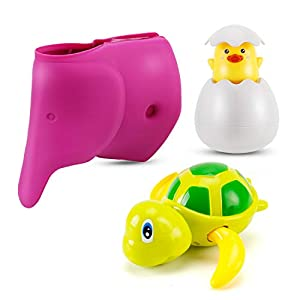 Artoflifer Baby Bath Spout Cover Universal Fit Silicone Elephant Purple Swimming Turtle Egg Baby Bath Toys Kids Water Toys Toddler Toys Baby Toys for 6 month old Baby Learning Toys Best Seller Toys