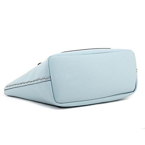 AiteFeir Sac à main en cuir de Lady Lady Hobo sac de luxe et sac à bandoulière Litchi Zipper sac de mode Satchel bleu ciel