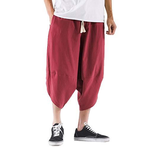 Xmiral Wadenlange Hosen Einfarbig Große Größe Elastische Taille Lose Herren Shorts Caprihose Freizeitkleidung Jogger Fitness(Wein Rot,XL)