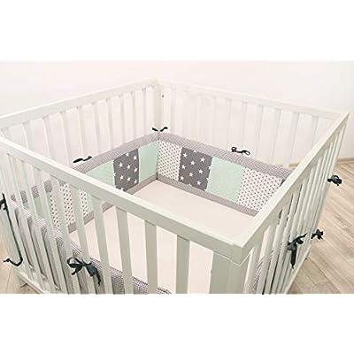 ULLENBOOM® Bumper- Mint Grey (400x 30cm Baby playpen Bumper, Full Surround Bumper Pads for 100x 100cm playpen)
