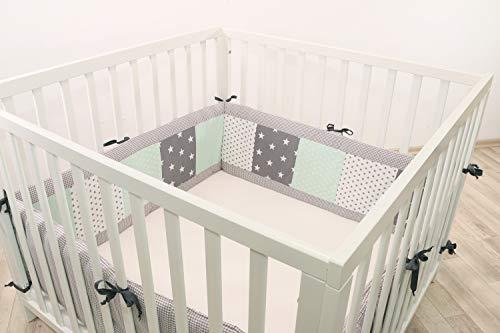 ULLENBOOM ® Nestchen Mint Grau (400x30 cm Baby Laufgitter Nestchen, Umrandung für 100x100 cm Laufstall - Rundum, Motiv: Punkte, Sterne, Patchwork)