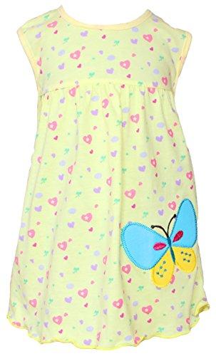 Sommer SALE! Sommerkleid | Shirt-Kleid Pincess Taufkleid Modell 5 gelb gemustert mit Schmetterling