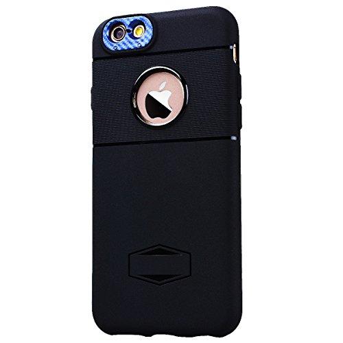 HB-Int Schutzhülle für iPhone 6 / 6S Schwarz Handytasche mit Eingebauter Magnetplatte Schwarz Kameraobjektiv Schutz Silikon Back Hülle Magnetische Auto Mount Plate Bumper Case Blau