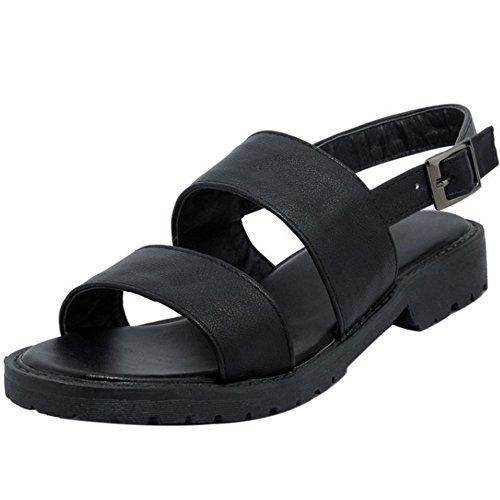 COOLCEPT Damen Mode Slip On Sandalen Open Toe Singback Flach Schuhe Schwarz