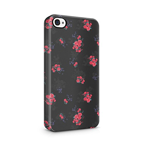 Flowers Crimson Red Rose Blossom Pattern Apple iPhone 4 , iPhone 4S Snap-On Hard Plastic Protective Shell Case Cover Custodia Crimson Red Rose
