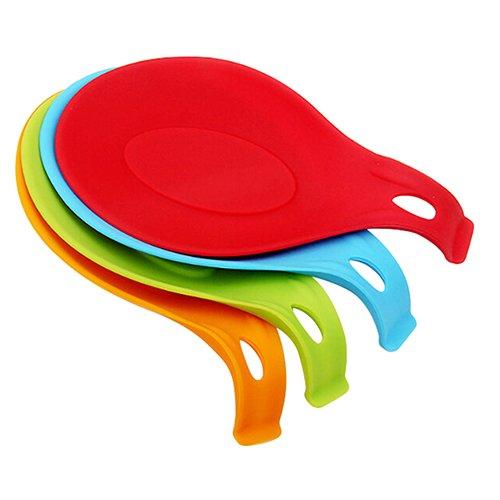 KaariFirefly Silikon Löffel Platzset hitzebeständig Gabel Matte Rest Utensilien Spachtel Halter Küche Praktisches Werkzeug zufällige Farbe multi -