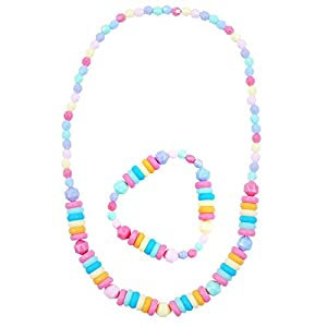 Pink Poppy Pastel Collar y Pulsera (Juego de 2, Multi-Color)