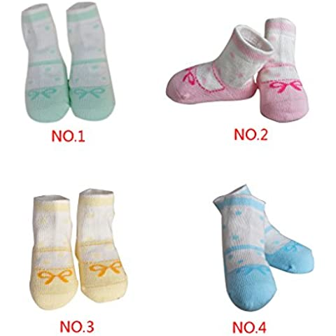 QHGstore 2 paia tradizionale confortevole caldo bowknot modello in cotone Calzini neonato ragazza Green & 0-6M