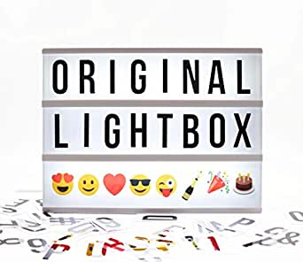 Locomocean Light Up Your Life USB or Battery Operated LED Vintage Cinema Marquee Light Box with 100 Changeable Letters, Numbers and Colour Emoji. Includes Letter Storage for 220 Tiles and USB Lead.
