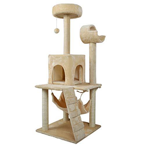 DuYanDY Albero di Gatto, sisal Comodo e spazioso Coperto con Appartamento Piatto per Gatti con prurito, Dimensioni 50 * 50 * 140 Bianco Crema