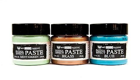 Finnabair Art Extravagance Patina Effect Paste Set-Mint Green, Blue, Brass; 1.7