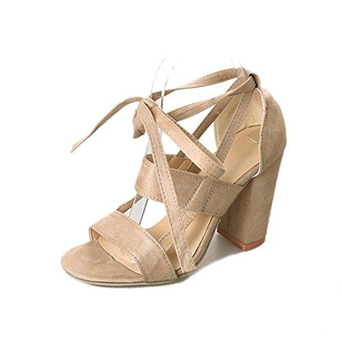 Sandalias mujer, Manadlian Moda Sandalias de mujer Tobillo Tacones altos Fiesta en la calle Zapatos con punta abierta día de San Valentín (CN:34, Beige)