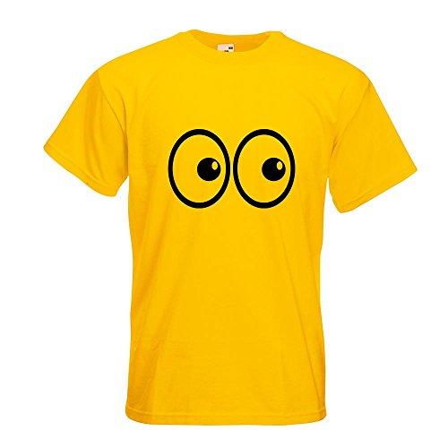KIWISTAR - Roll Augen T-Shirt in 15 verschiedenen Farben - Herren Funshirt bedruckt Design Sprüche Spruch Motive Oberteil Baumwolle Print Größe S M L XL XXL Gelb