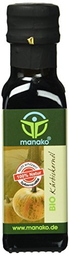 manako BIO Kürbiskernöl, geröstet, kaltgepresst, 100% rein, 100 ml Glasflasche (1 x 0,1 l)