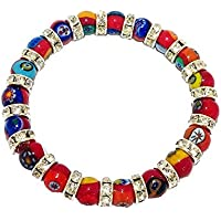 Bracciale Rosso Mosaico Murrine Swarovsky Elastico Murano Glass Made in Italy