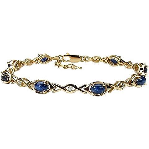 Goldancé - Bracciale da Donna argento sterling 925 placcati in oro vero Zaffiro blu - B507BSAPH_SGP