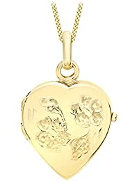 Carissima Gold 9ct Yellow Gold Heart Daisy Locket Pendant on Curb Chain Necklace of 46cm/18""