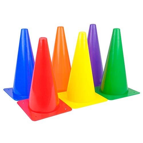 Ogquaton Sicherheits-Kunststoffkegel Markierungskegel Multifunktionssicherheits-Beweglichkeitskegel-Übungs-Bohrer-Markierung für Fußball-Fußball-Sport 6 Stücke blau -