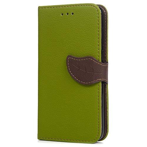 Klapphülle für Huawei P Smart Handys, aus Kunstleder, Baumblatt-Design, mit Magnetverschluss, Brieftaschenhülle mit Ständerfunktion, Kartenhalter und ID-Slot, für Huawei P Smart grün