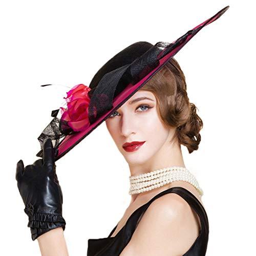 (OLADO Derby-Hut für Frauen Sinamay Elegante Elegante Leinen Kentucky Rose Blumen LadyChurch Hats)
