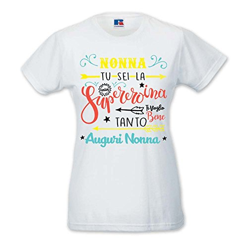 T-Shirt Donna Idea Regalo Festa Dei nonni Supereroe Bianca