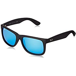 RAY BAN Men 4165 Non-Polarized Sunglasses,Black ( Vidiros : Blue Mirror 622/55 )