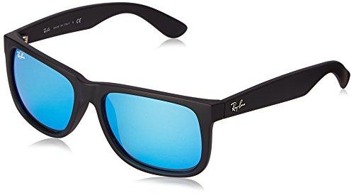 Ray Ban Unisex Sonnenbrille RB4165, Gr. Large (Herstellergröße: 55), Schwarz (Gestell: Schwarz, Gläser: Blau Verspiegelt 622/55)