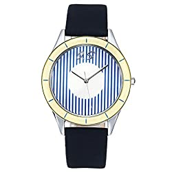 JSDDE Mens Unique Casual Stripes Design Dial Simple Style Watch Genuine Leather Band Precision Movement 3ATM Water Resistant-Blue