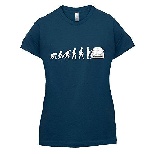 Evolution of Man - Fiat 500 Fahrer - Damen T-Shirt - 14 Farben Navy