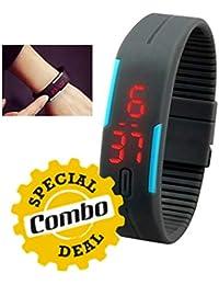 GKP Products Combo Of -3 Digital TPU Band Unisex Wrist Watch, Unbreakable Glass Set Of 6Pcs & 4 In 1 USB Hub
