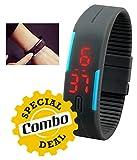 GKP Products Combo of -3 1x Digital TPU Band Unisex Wrist Watch, 1x 6 LED Solar Power Camping Lantern Light Rechargable & 1x Sports Style Earphone