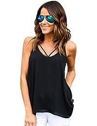 LONUPAZZ Chemisier en Mousseline t-Shirt Debardeur Femme sans Manches Tops Veste Tank Tops Chemise Blouse Camisole
